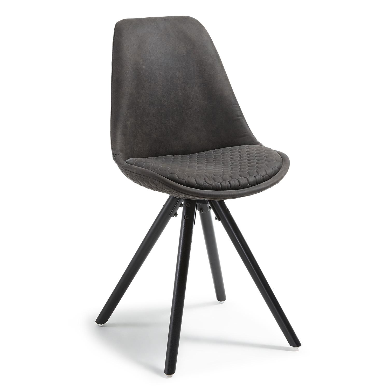 LAFORMA Lars spisebordsstol - grafitgrå stof og sort bøg
