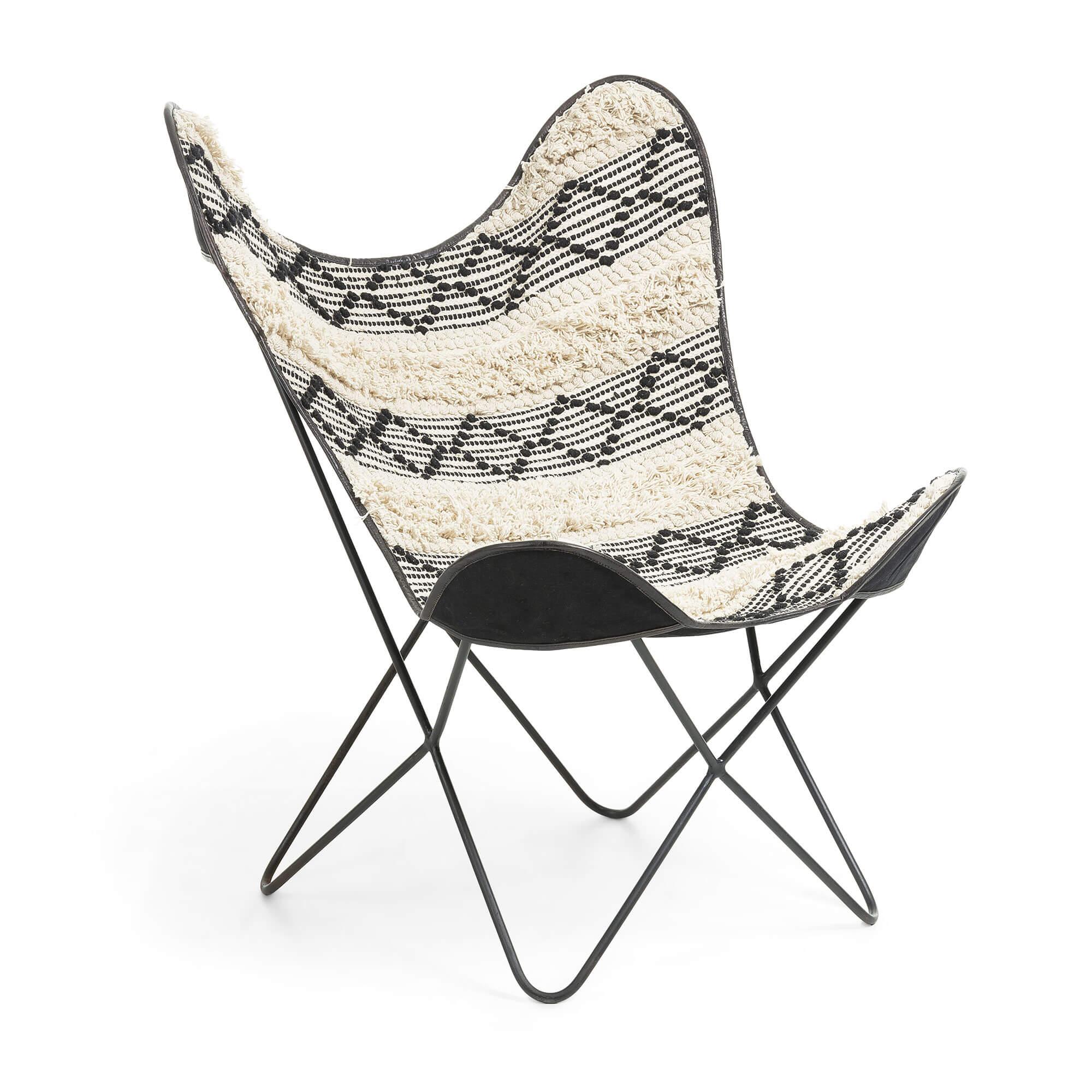 laforma Laforma flynn butterfly lænestol - hvid/sort stof og sort metal på boboonline.dk