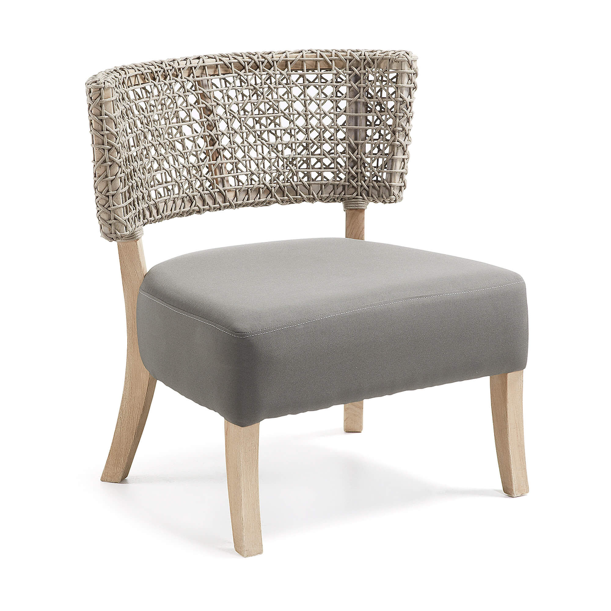 laforma Laforma domus lænestol - beige/natur polyester/teaktræ og stof fra boboonline.dk