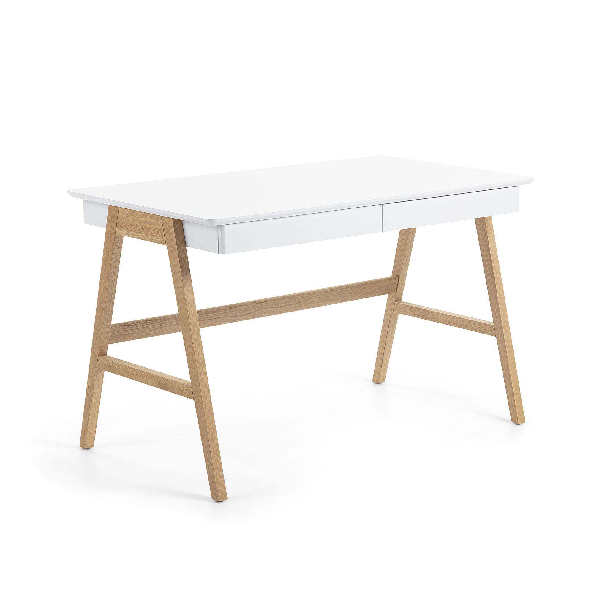LAFORMA Ingo skrivebord - hvid/natur MDF/egetræ, m. 2 skuffer
