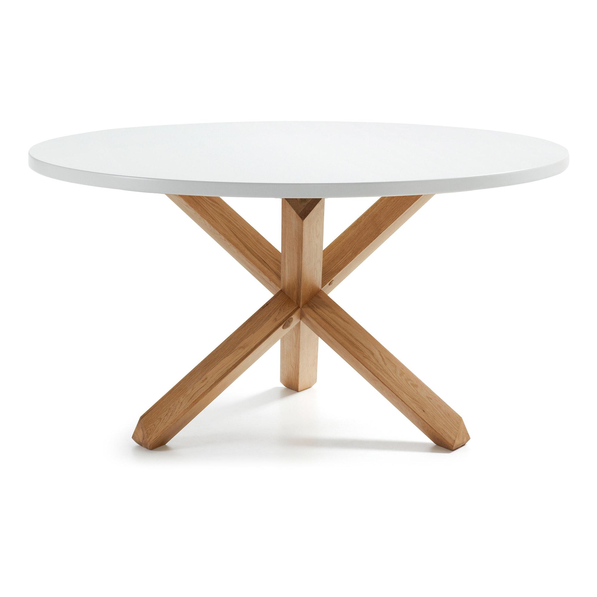 LAFORMA Nori spisebord - hvid/natur MDF/egetræ, rund (Ø135)