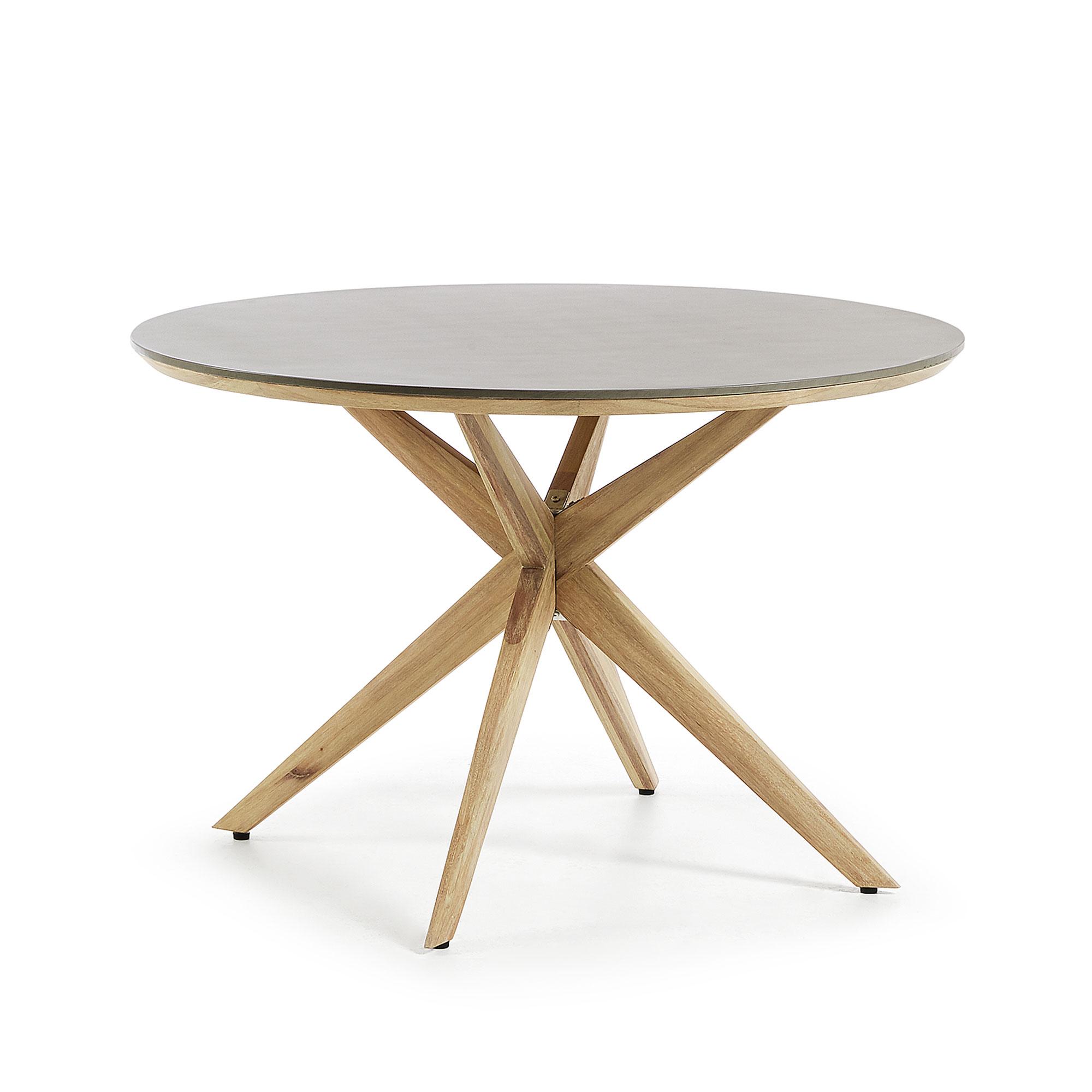 LAFORMA Glow spisebord - lysegrå/natur polycement/eukalyptusttræ, rund (Ø120)