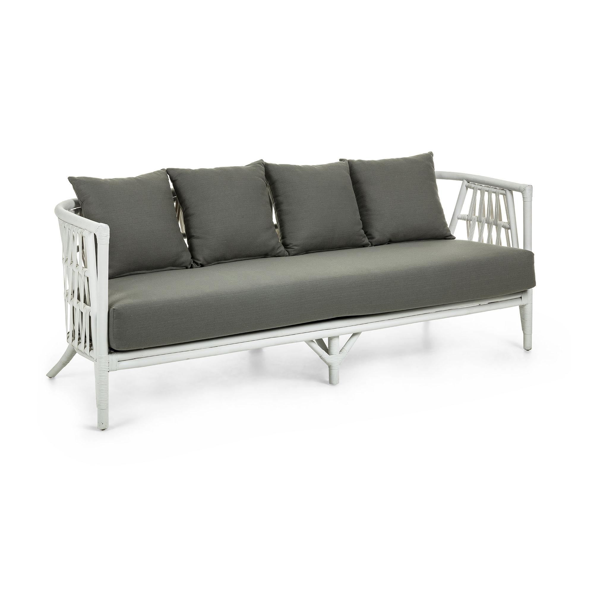 Laforma crampton 3 pers. sofa - lysegrå/hvid stof/rattan fra laforma fra boboonline.dk