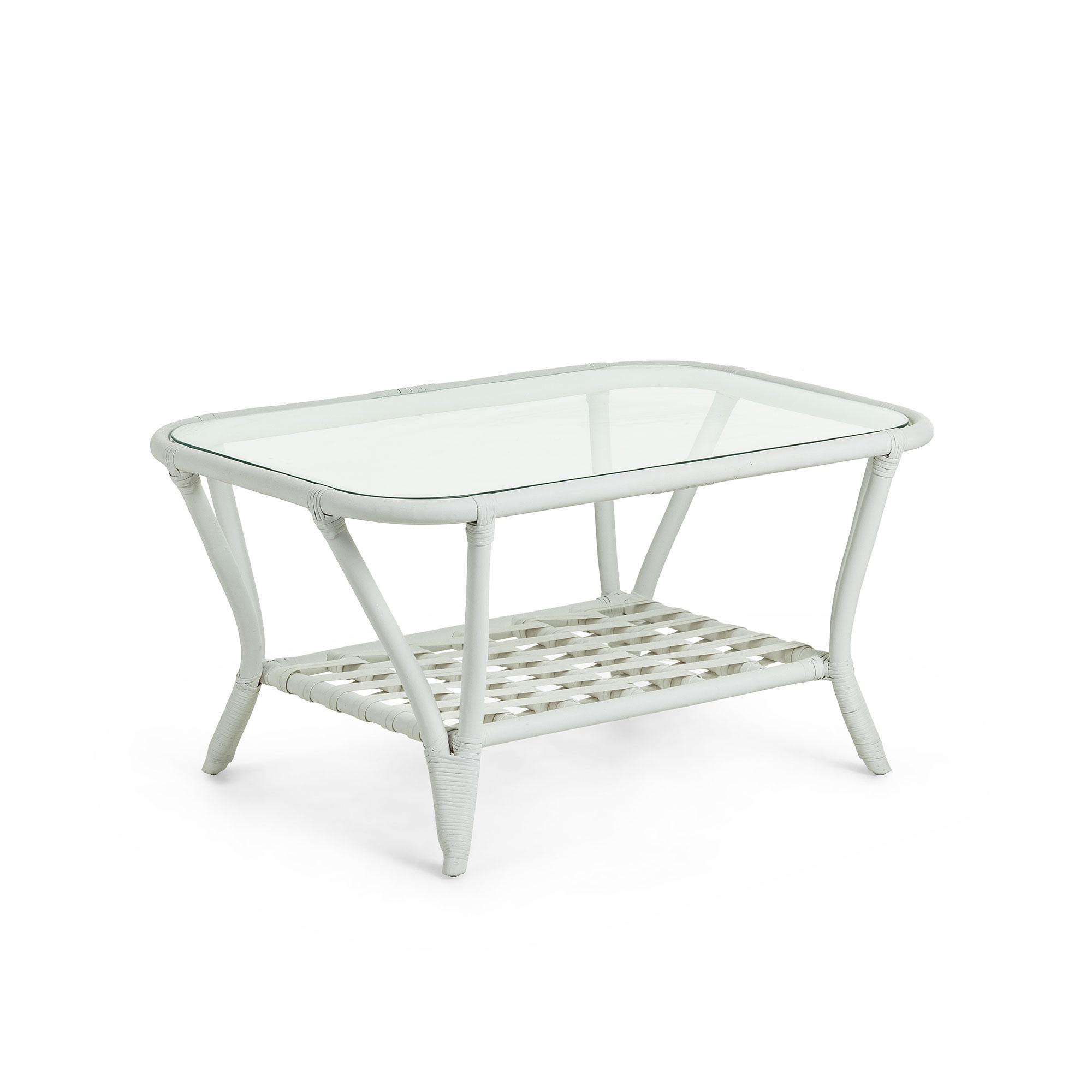 laforma Laforma crampton sofabord - hvid/klar rattan/glas, m. hylde, rektangulær (90x60) på boboonline.dk