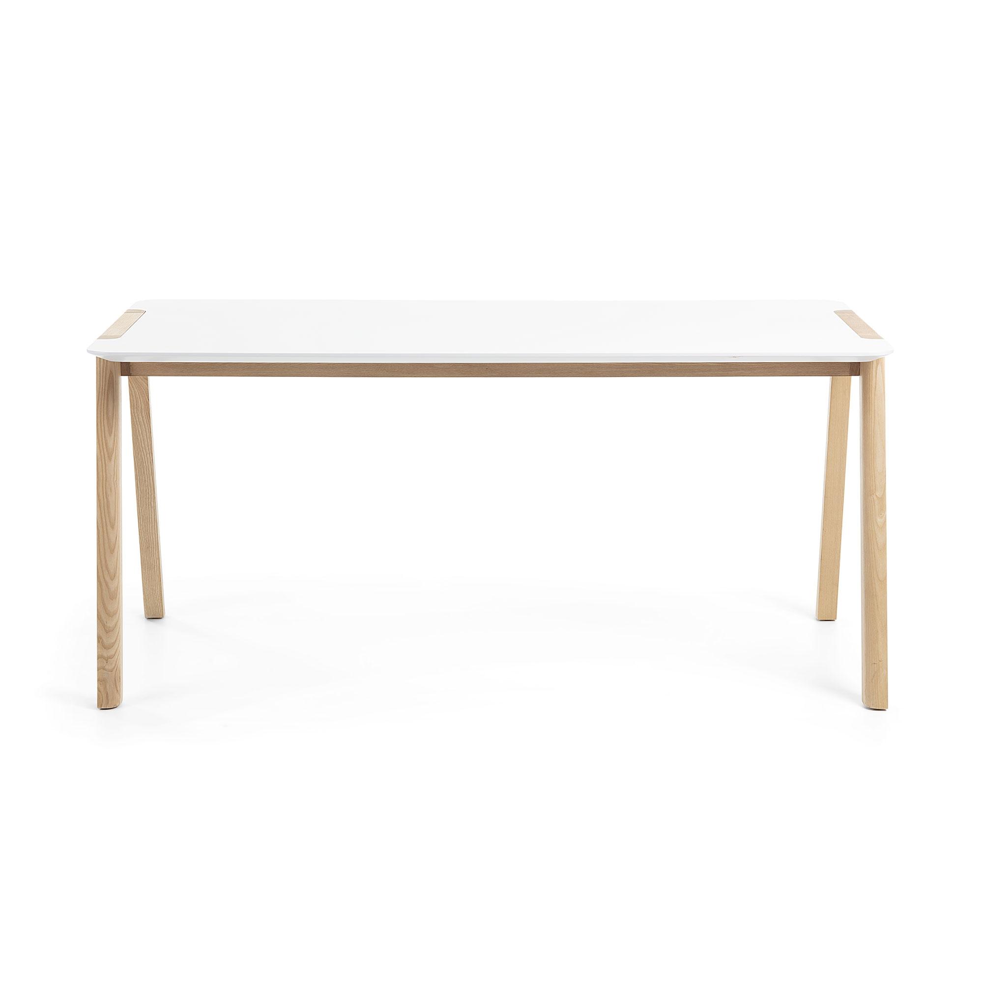 Laforma kale spisebord - hvid/natur mdf/asketræ, rektangulær (140x80) fra laforma fra boboonline.dk