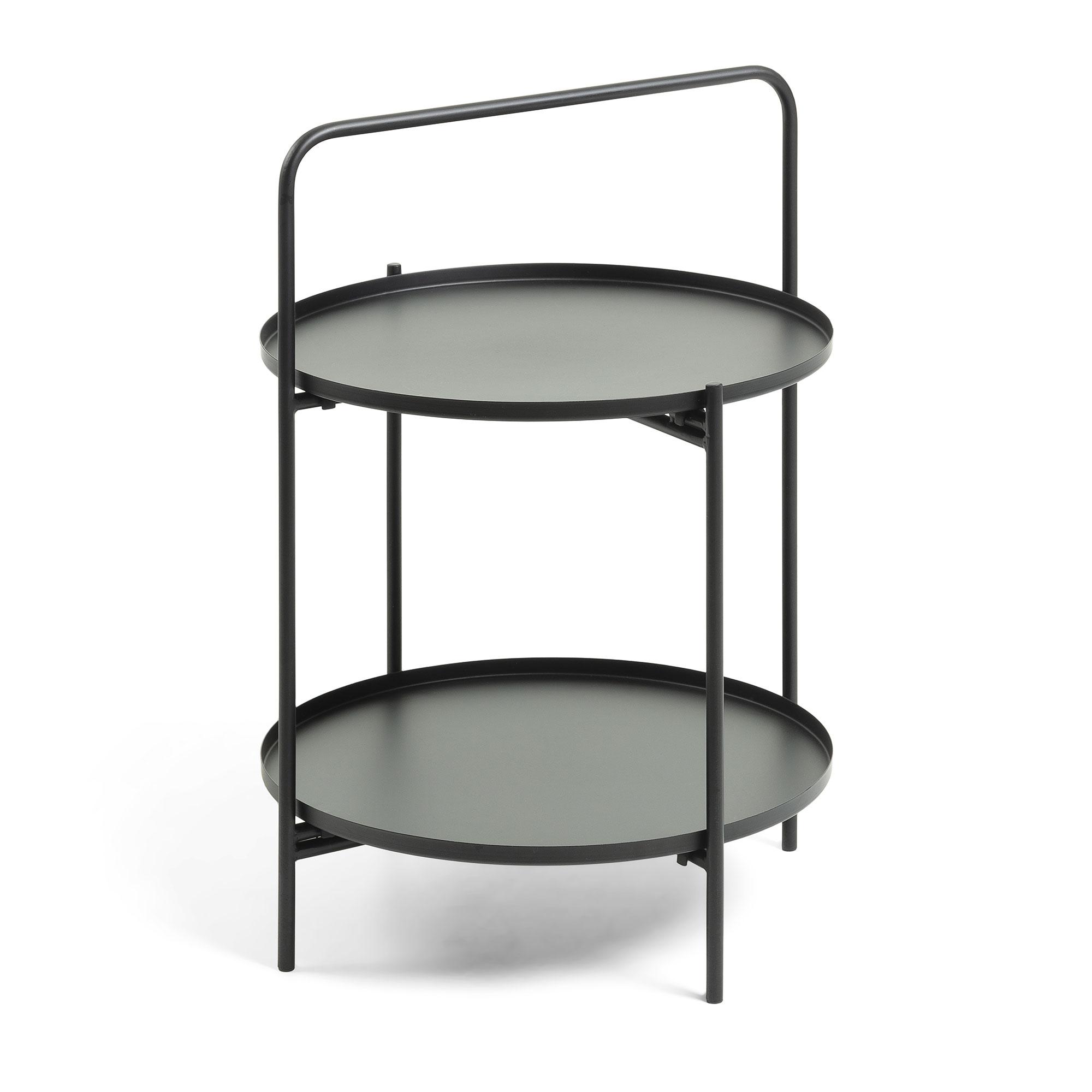 Laforma ulla bakkebord - sort metal, rund (ø48) fra laforma på boboonline.dk