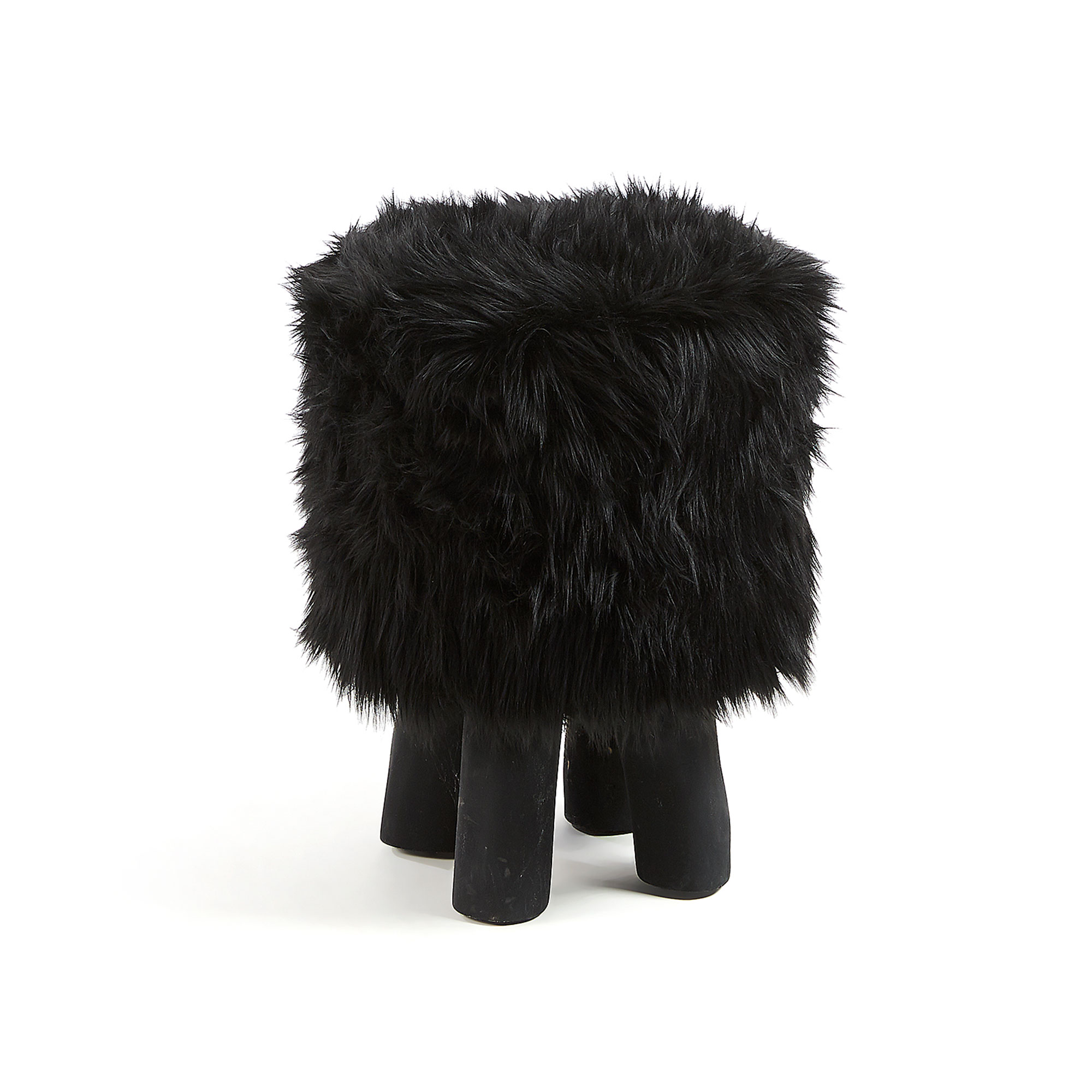 LAFORMA Oda skammel - sort kunstig pels/teaktræ, rund (Ø38)