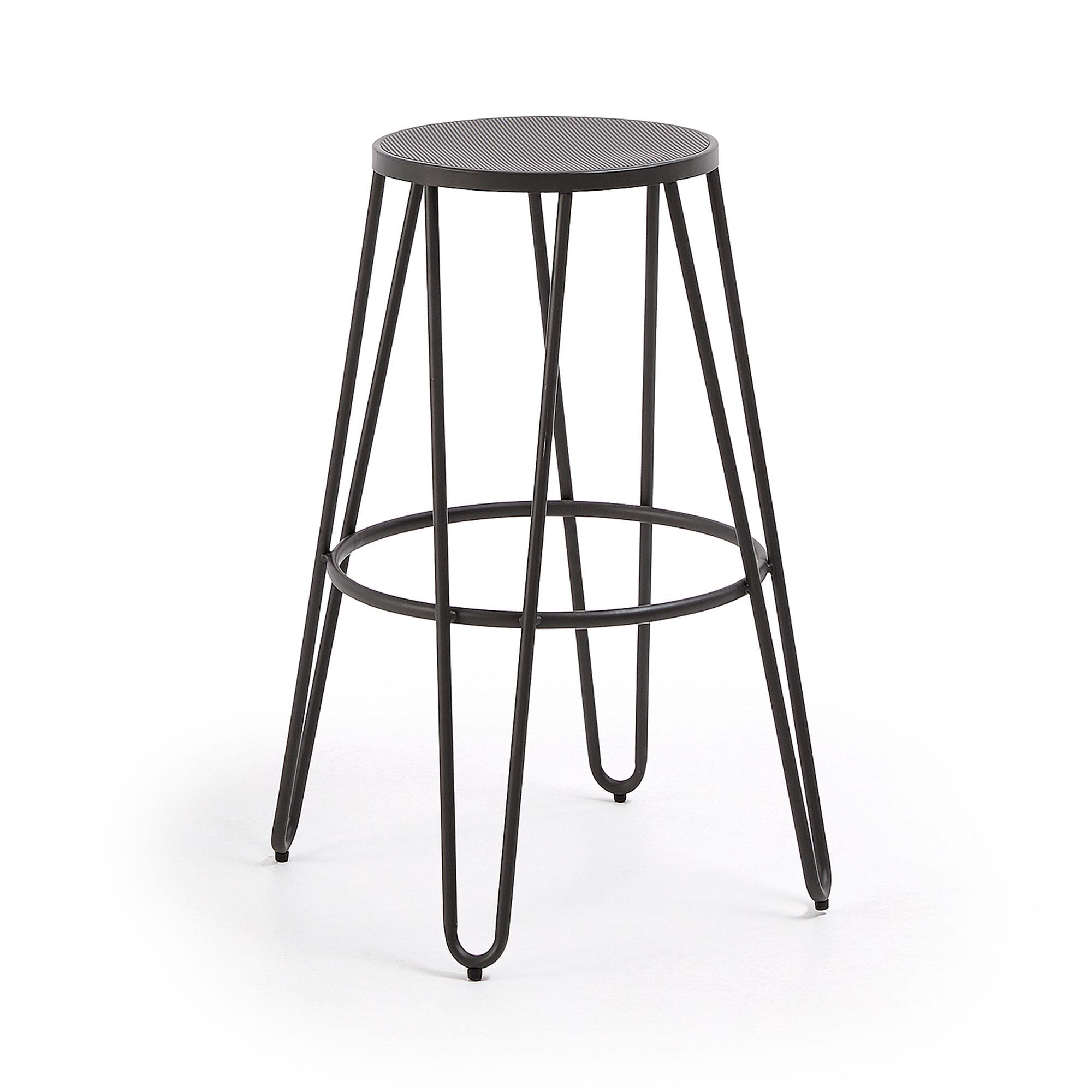 LAFORMA Mallone barstol - grafit grå stål, rund, høj (76cm)