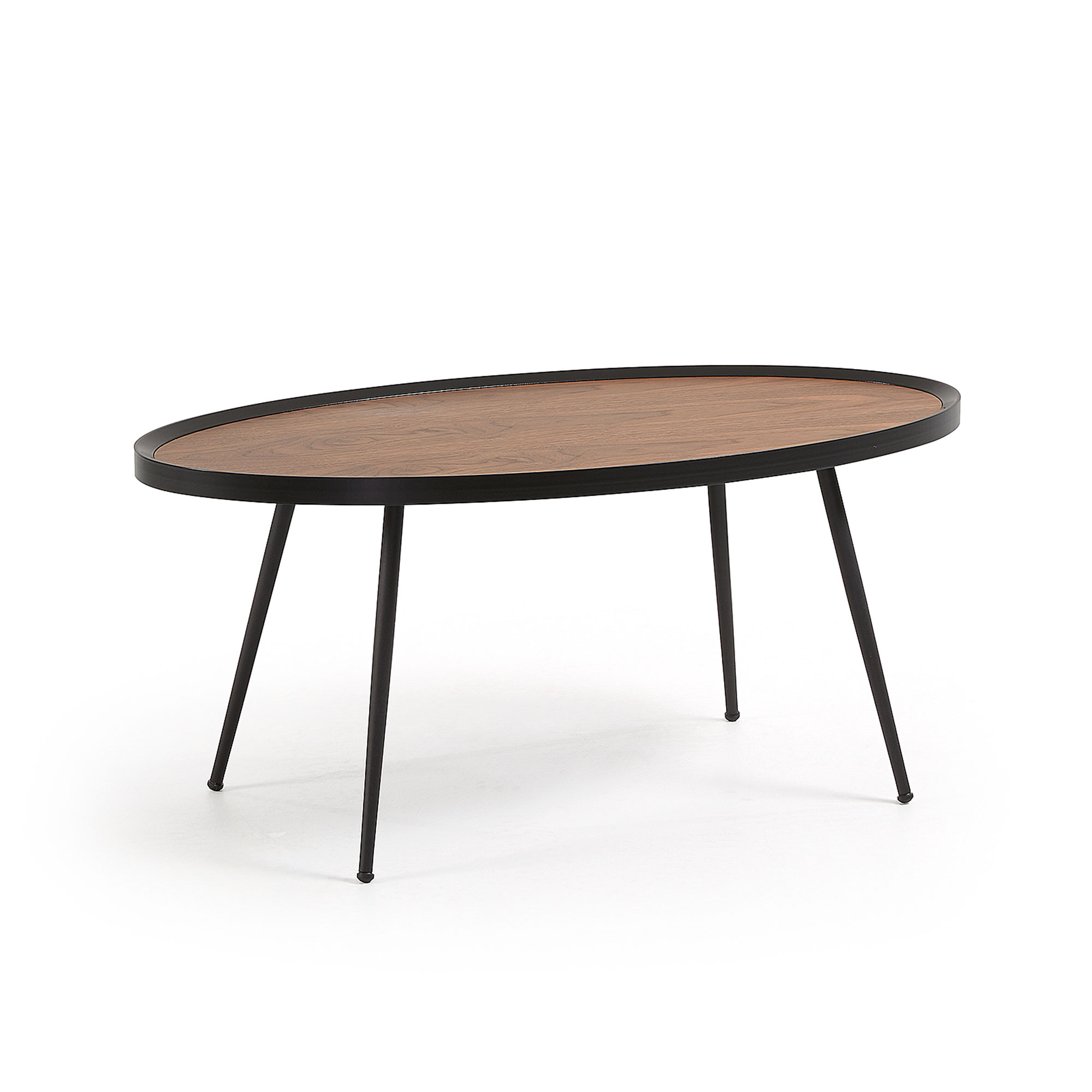 laforma – Laforma kamelia sofabord - brun/sort valnøddefin?r/metal, oval (102x56) fra boboonline.dk