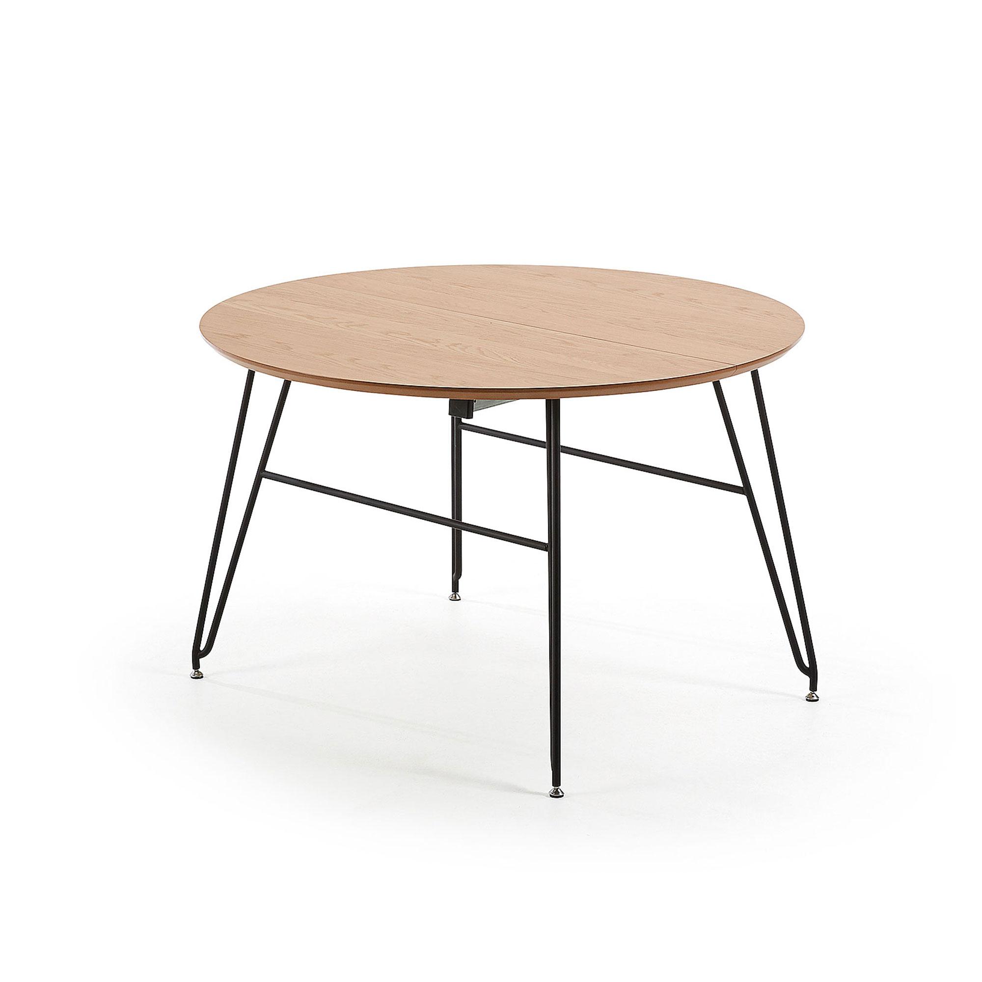 laforma Laforma novaks spisebord - natur/sort egetræsfin?r/metal, rund, m. udtræk (120(200)120) fra boboonline.dk