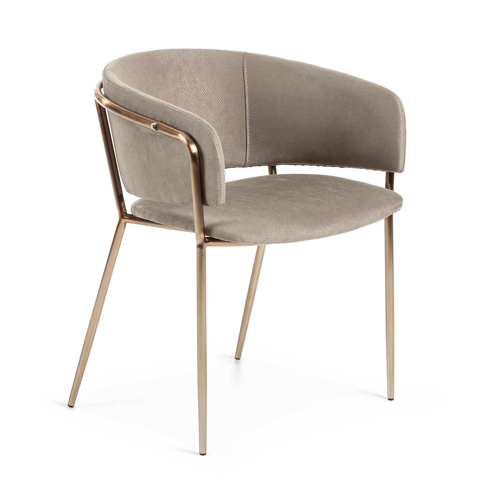 laforma Laforma konnie spisebordsstole - taupe/kobber fløjlstof/stål, m. armlæn på boboonline.dk