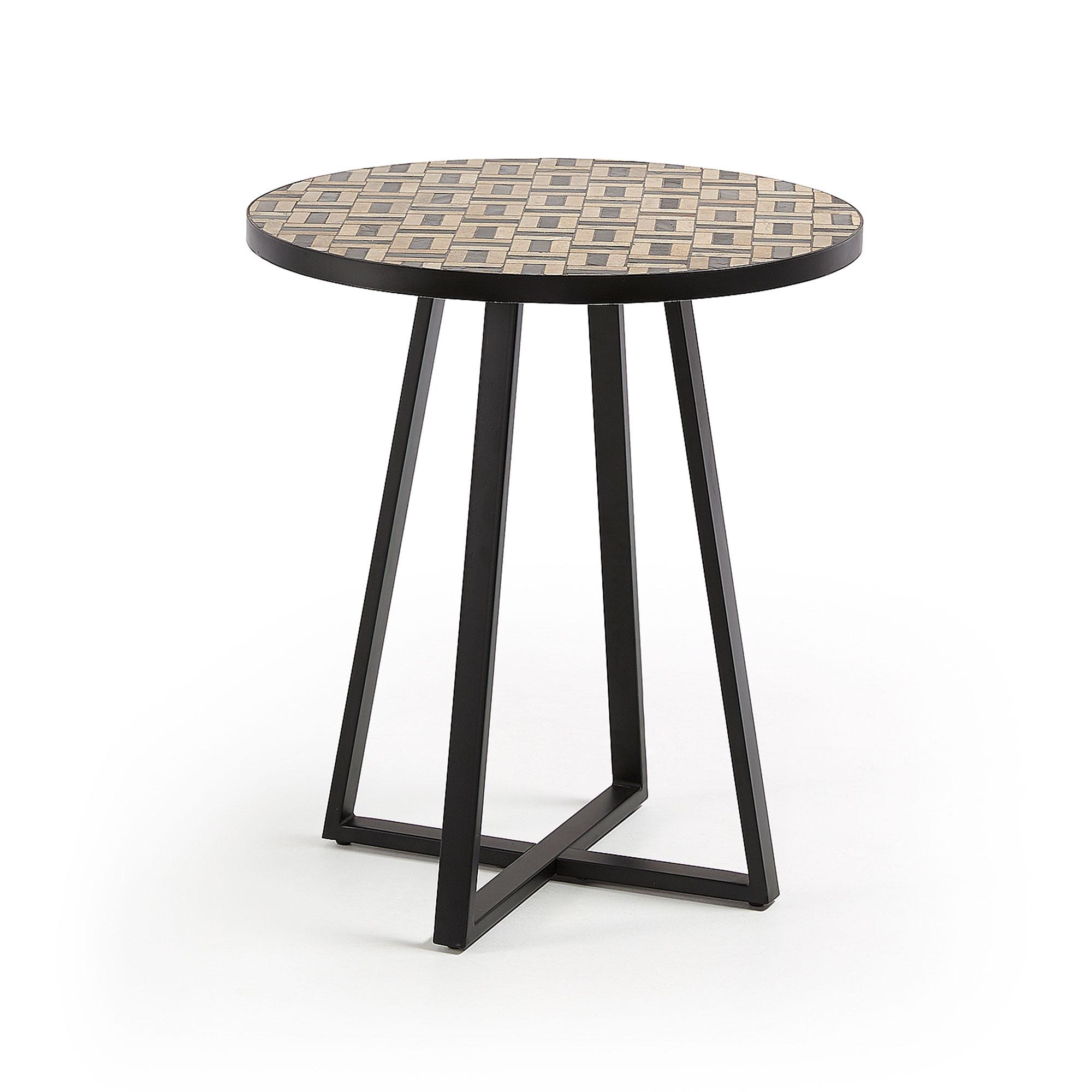 Laforma cocktail sidebord - brun/sort marmor/sten og sort stål, rund (ø70) fra laforma fra boboonline.dk