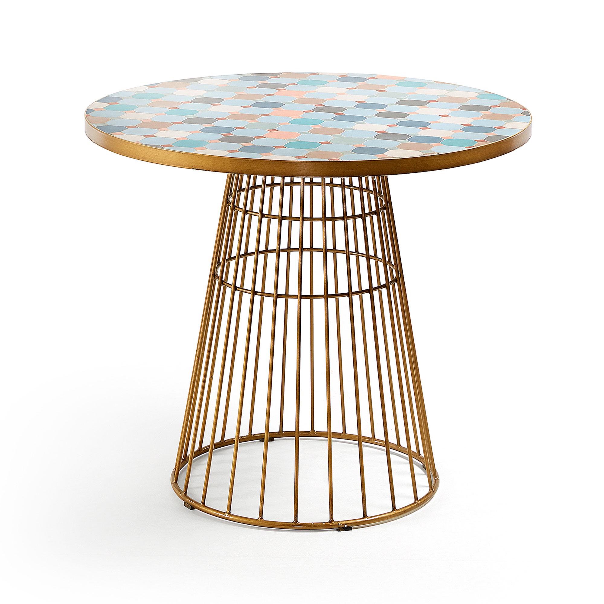 laforma – Laforma elsa caf?bord - multifarvet/guld fliser/stål, rund (ø90) fra boboonline.dk