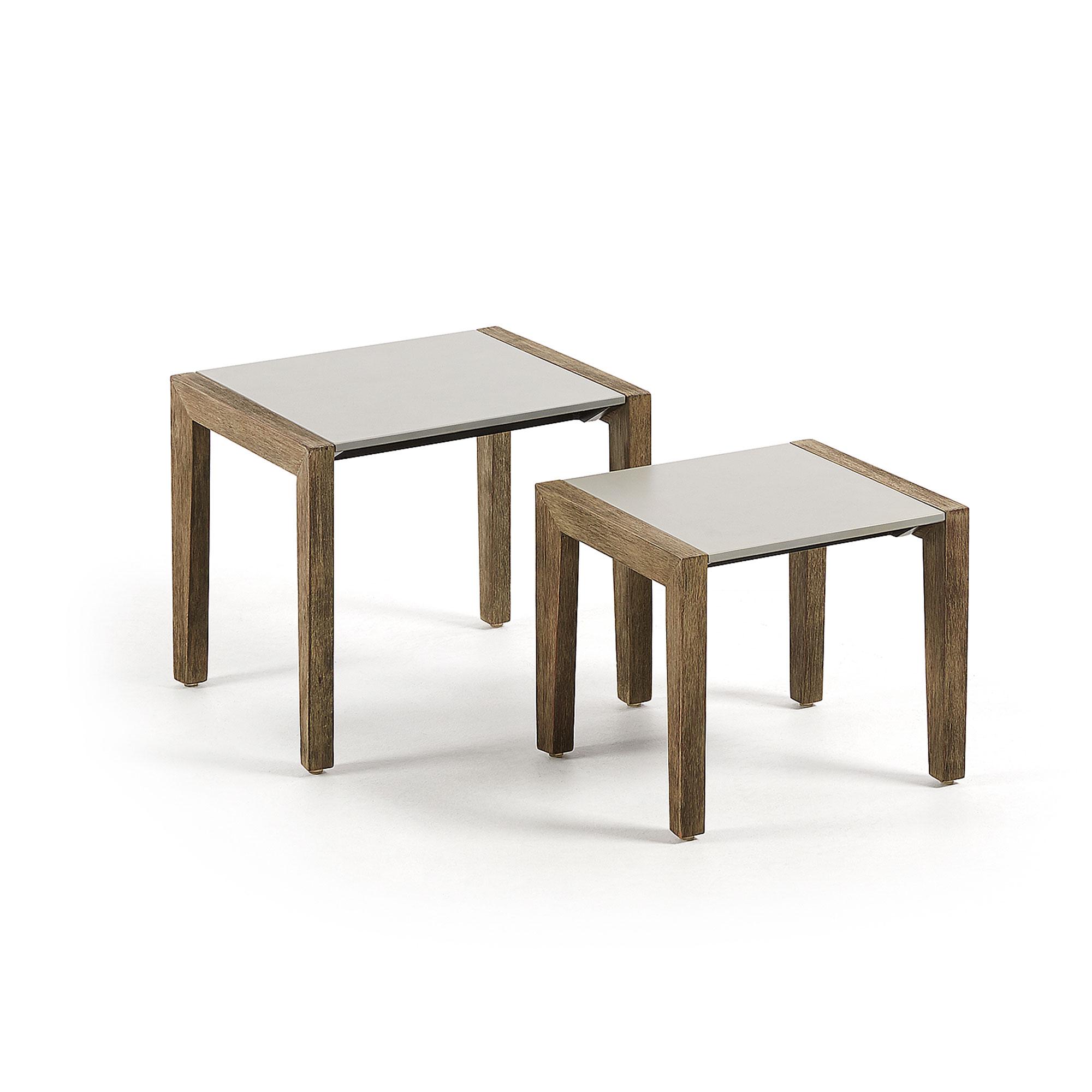 LAFORMA Climby sidebord - lysegrå/grå-brun polycement/eukalyptustræ (sæt à 2)