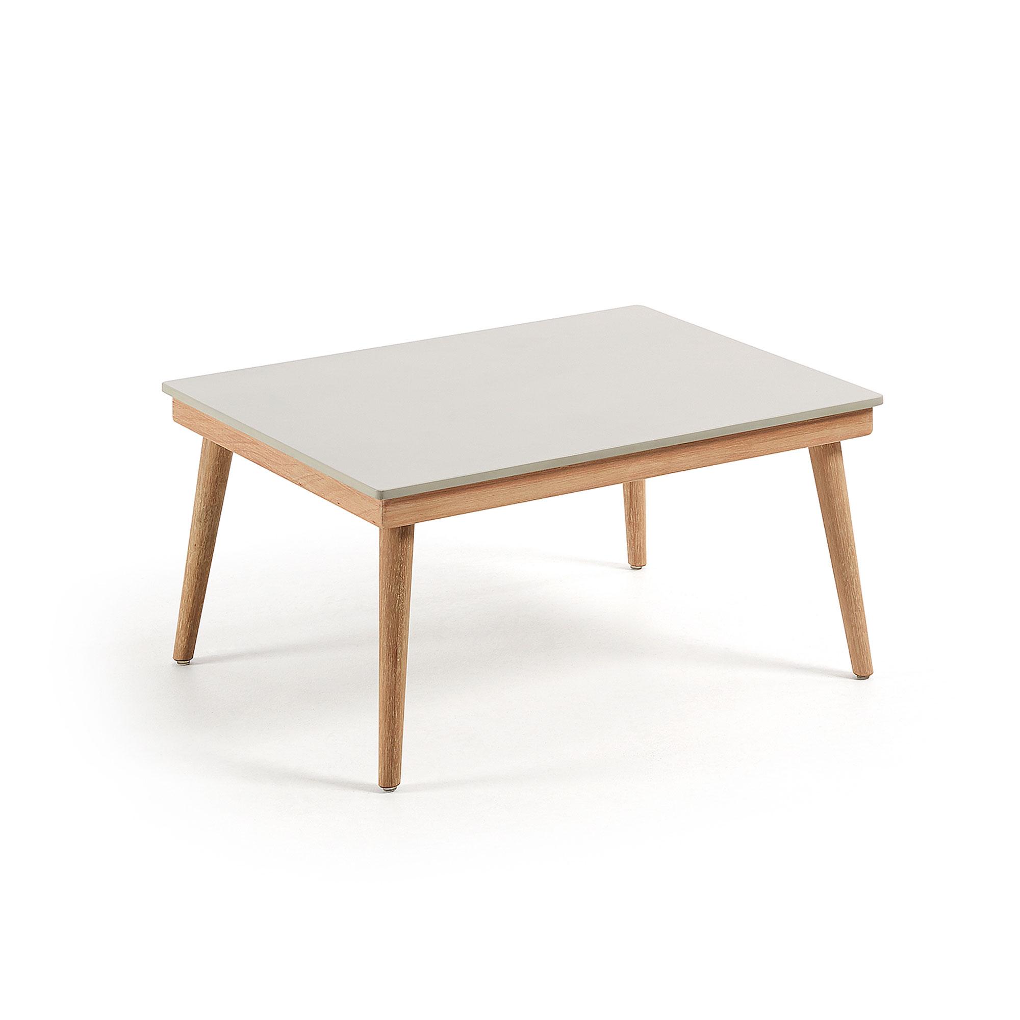 laforma Laforma ramdom sofabord - lysegrå/natur polycement/eukalyptustræ, rektangulær (80x60) på boboonline.dk
