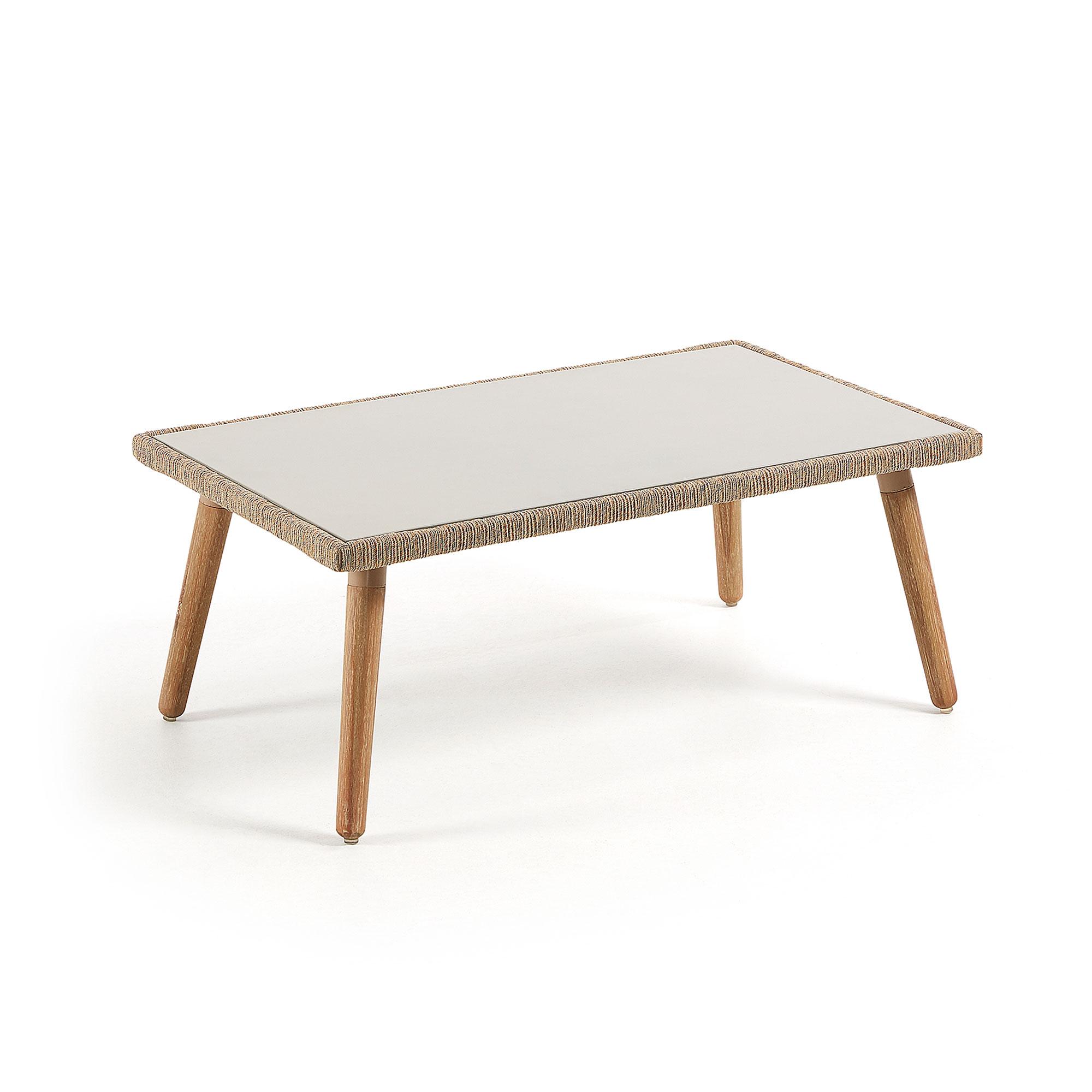 laforma – Laforma gillian sofabord - lysegrå/natur polycement/eukalyptustræ, rektangulær (100x60) fra boboonline.dk
