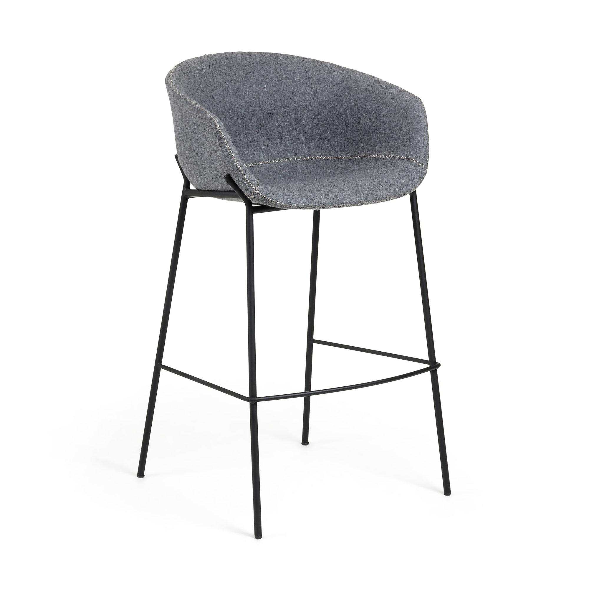 LAFORMA Zadine barstol - grå/sort uld/stål, m. armlæn thumbnail