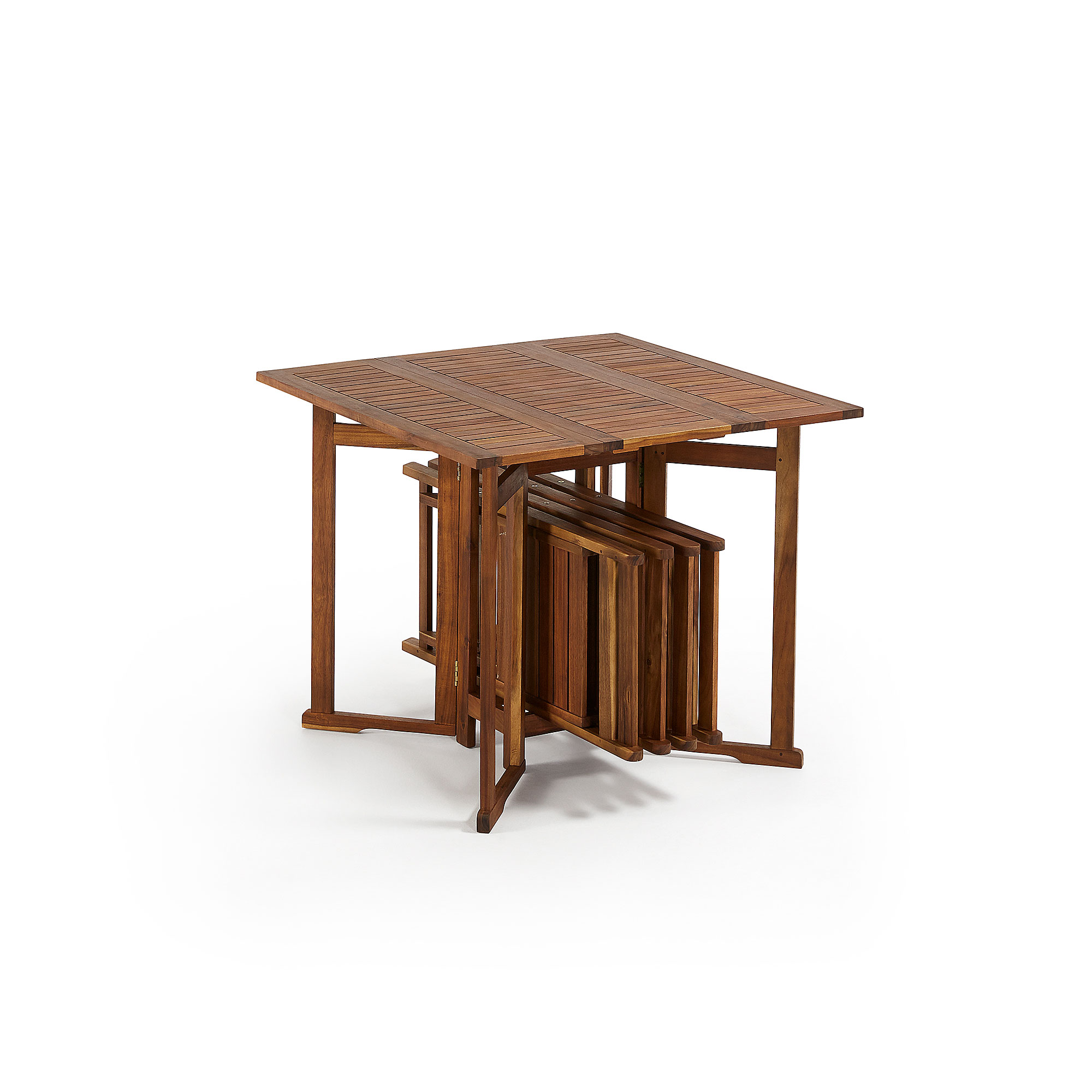 laforma – Laforma gustave spisebord - natur akacietræ, inkl. 4 stole på boboonline.dk