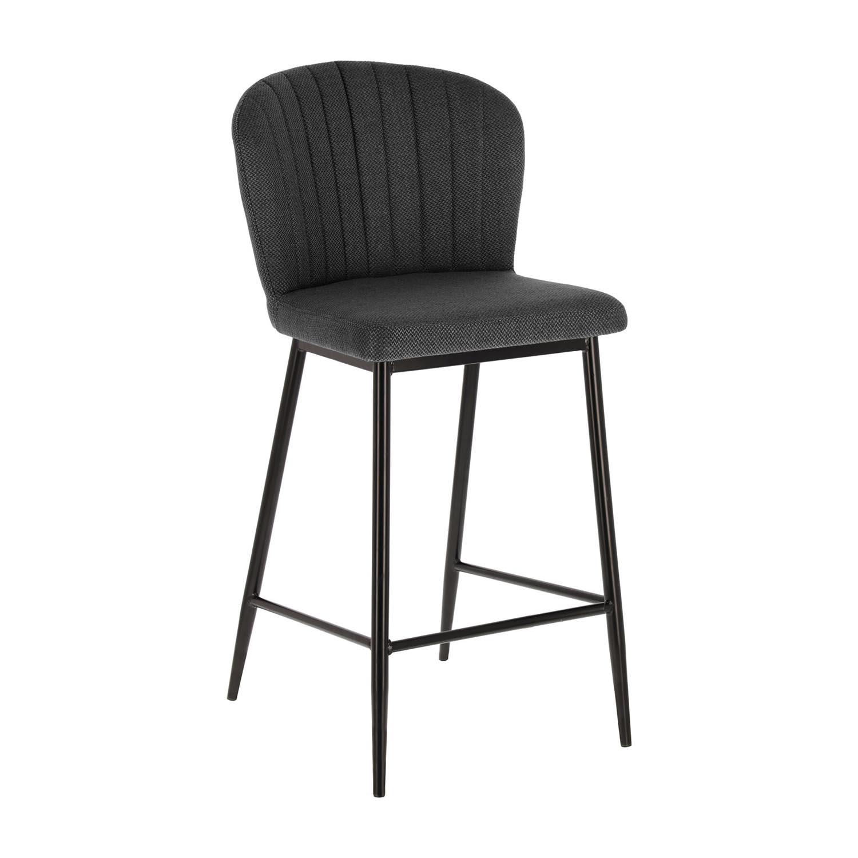 laforma – Laforma madge barstol, m. ryglæn og fodstøtte - mørkegrå stof og sort stål fra boboonline.dk