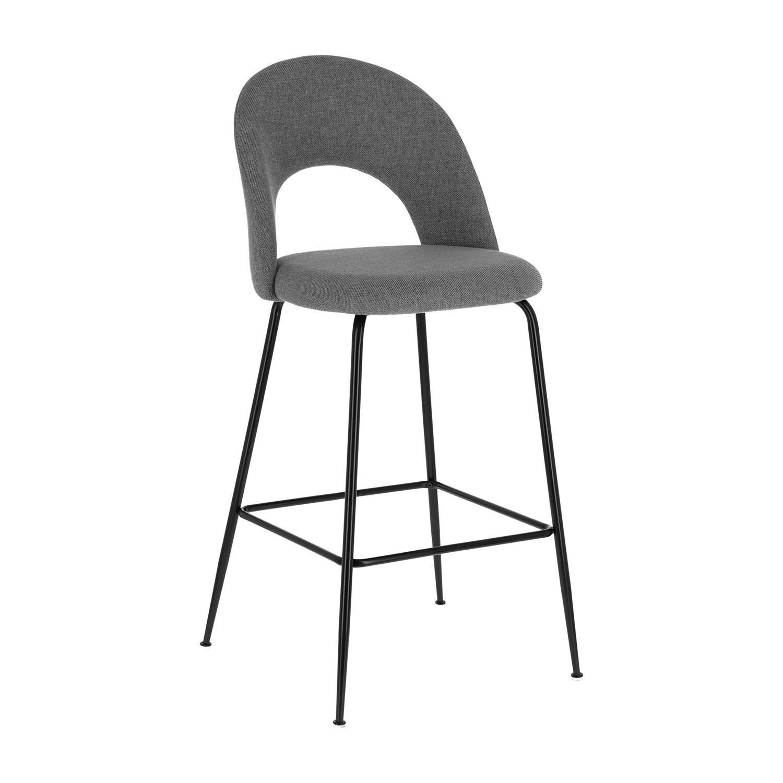 laforma – Laforma mahalia barstol, m. ryglæn og fodstøtte - lysegrå stof og sort metal fra boboonline.dk