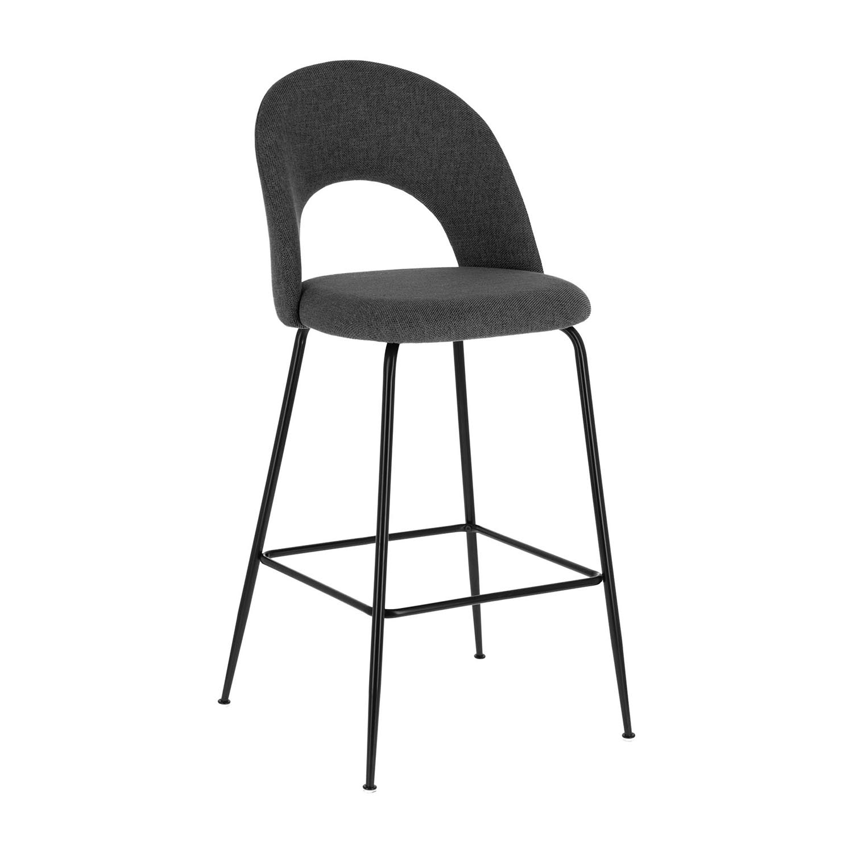 laforma – Laforma mahalia barstol, m. ryglæn og fodstøtte - mørkegrå stof og sort metal på boboonline.dk