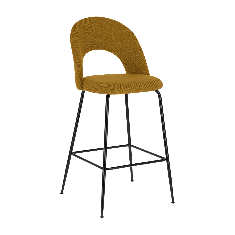 Laforma mahalia barstol, m. ryglæn og fodstøtte - sennepsgul stof og sort metal fra laforma fra boboonline.dk