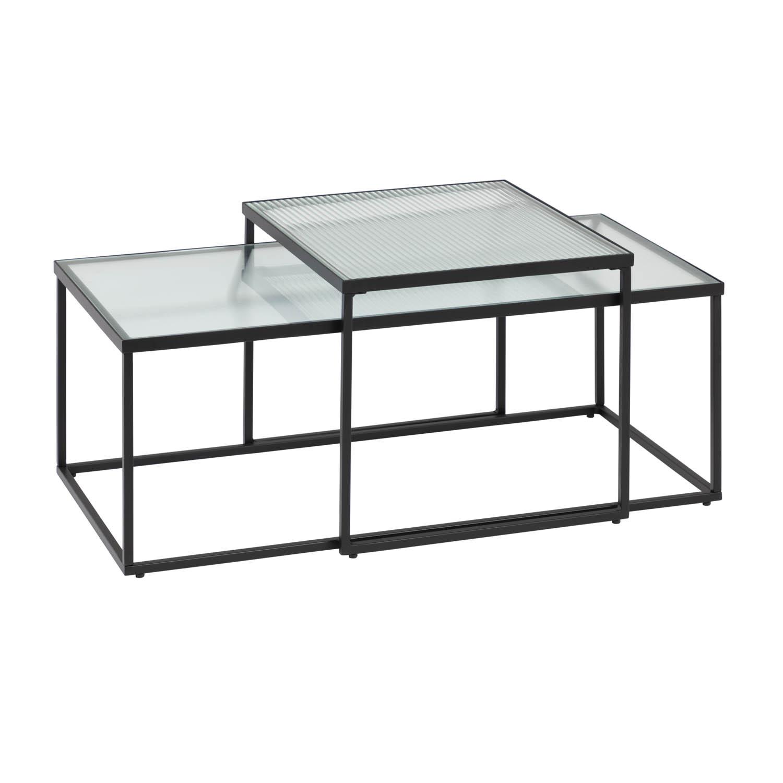 Billede af LAFORMA Akemi sofabord, firkantet - sort stål og klar/struktureret glas (sæt m. 2)