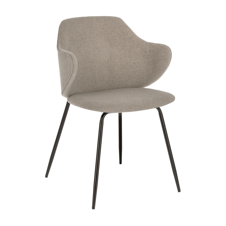 LAFORMA Suanne spisebordsstol, m. armlæn - lysegrå stof og sort stål - OUTLET