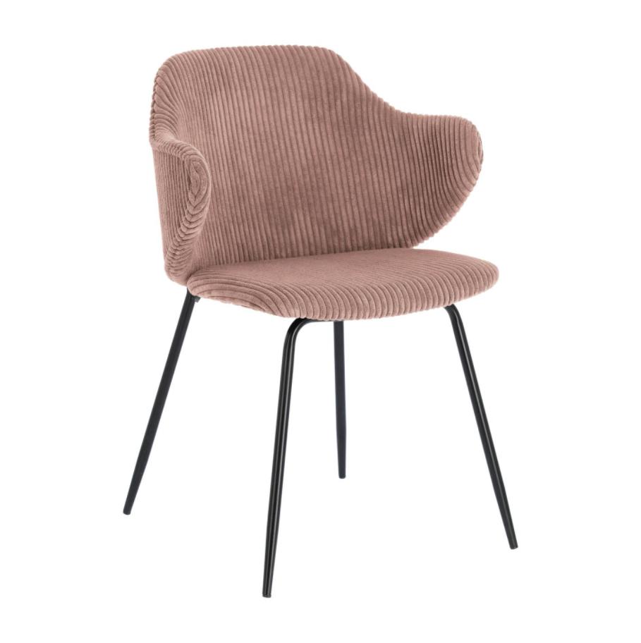 LAFORMA Suanne spisebordsstol - pink fløjl m. sort stel, m. armlæn