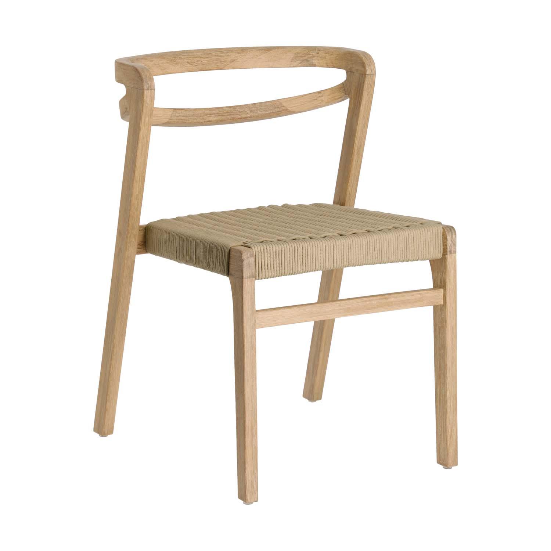 LAFORMA Ezilda spisebordsstol, stabelbar - massivt eukalyptus træ og beige snor