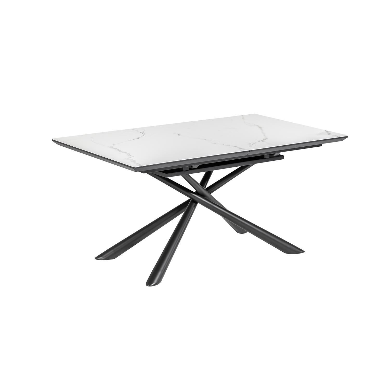 laforma Laforma theone spisebord, m. butterflybordplade - hvid porcelæn/glas og grå stål (160(210)x90) fra boboonline.dk