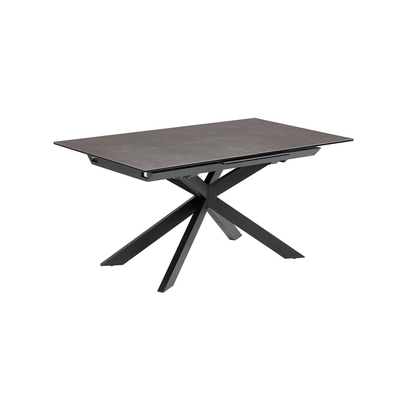 laforma Laforma atminda spisebord, m. udtræk - glas og grå porcelæn samt sort stål (160(210)x90) på boboonline.dk