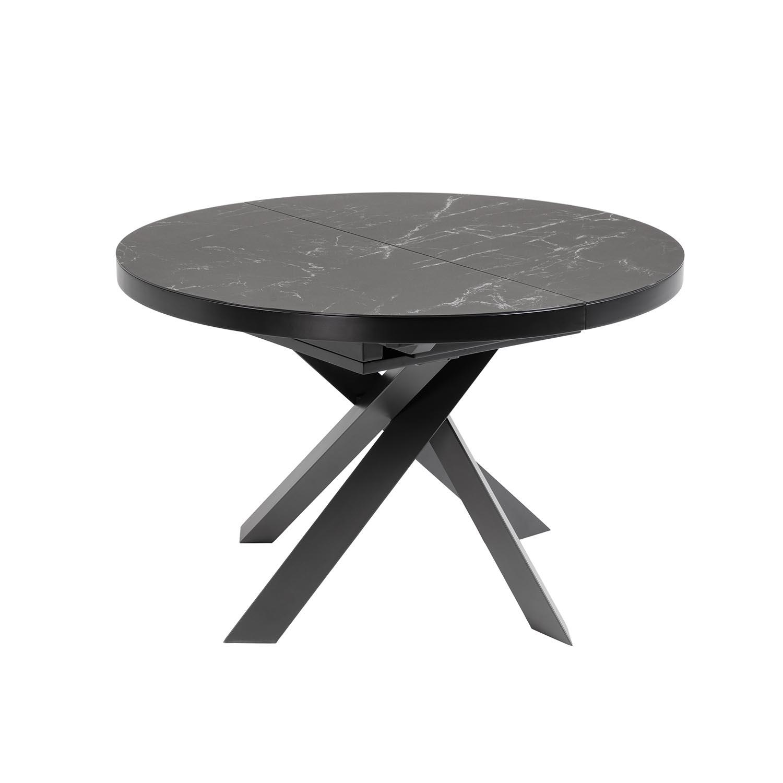 LAFORMA Vashti spisebord, m. butterflybordplade - glas og grå porcelæn samt sort stål (Ø120(160)