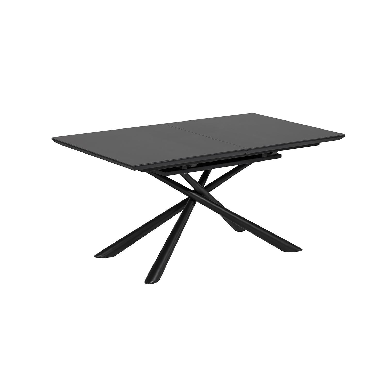 laforma – Laforma theone spisebord, m. butterflybordplade - klar glas og sort stål (160(210)x90) på boboonline.dk