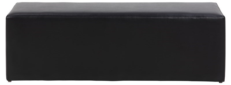Condo rektangulær puf - sort kunstlæder (38x118)