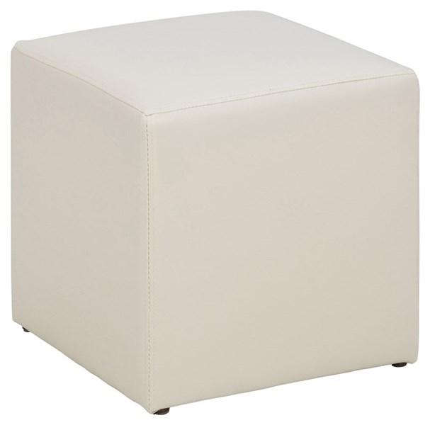 Condo kvadratisk puf - hvid kunstlæder (38x38)
