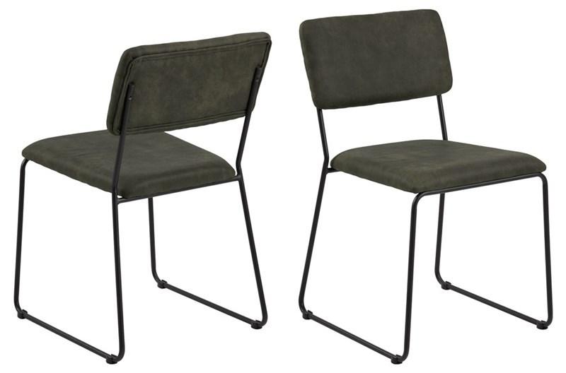 Cornelia spisebordsstol - olivengrøn stof og sort metal