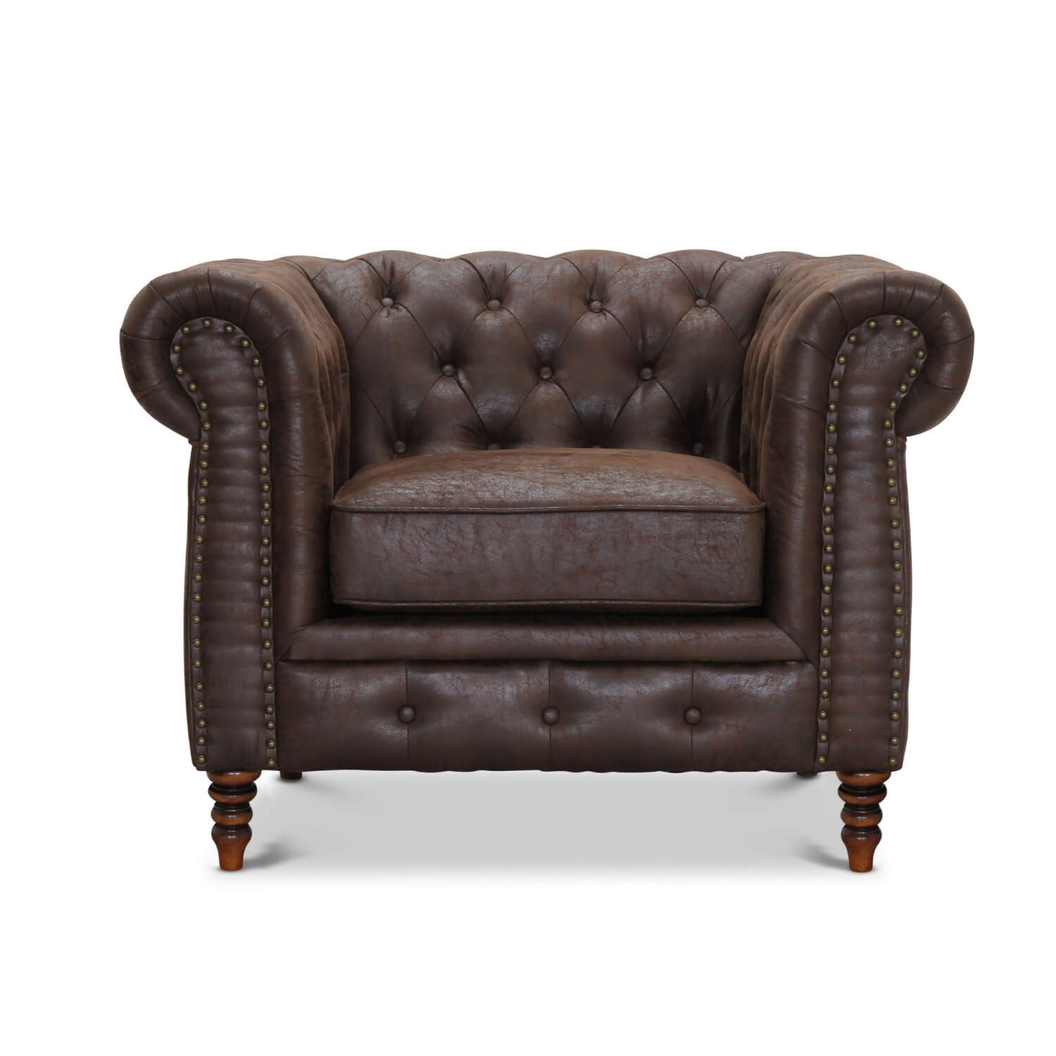 Image of   Cambridge chesterfield lænestol - brun vintagelook