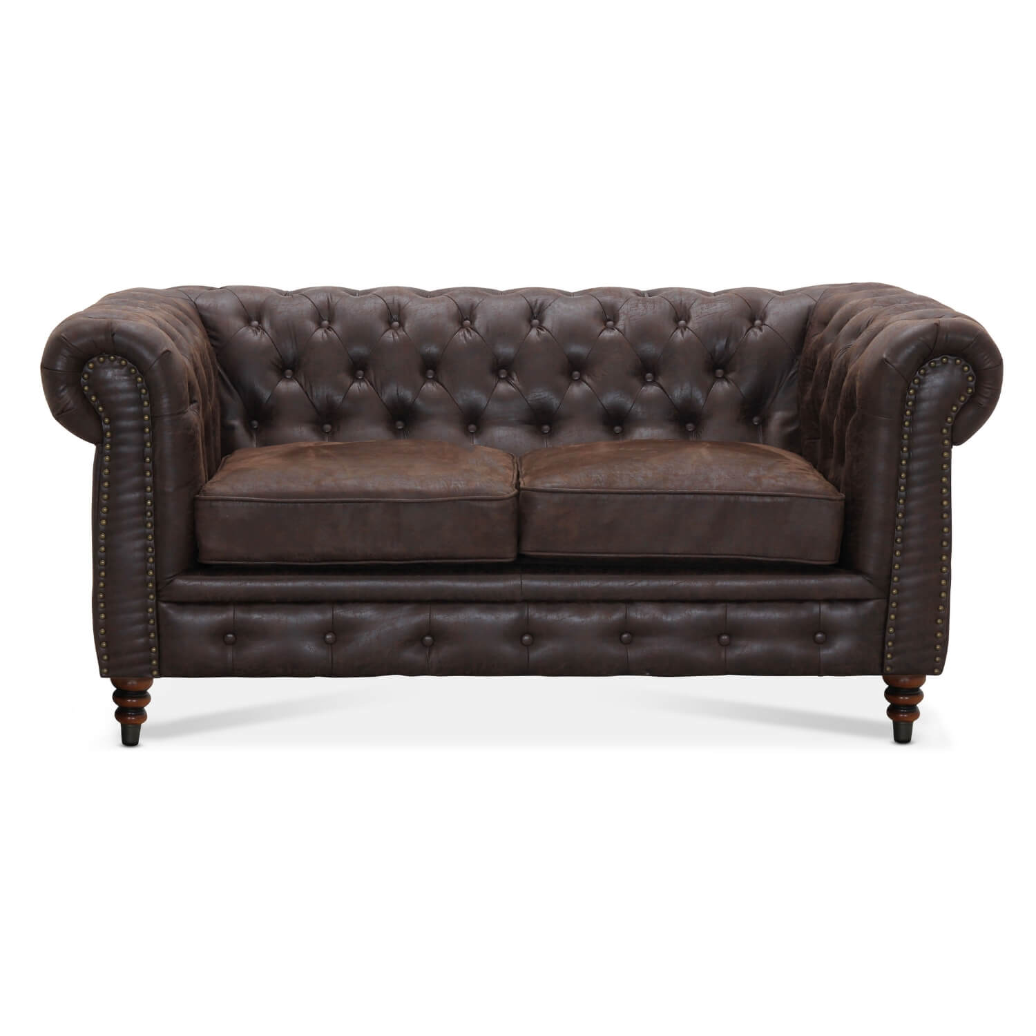 Cambridge 2 pers. chesterfield sofa - brun