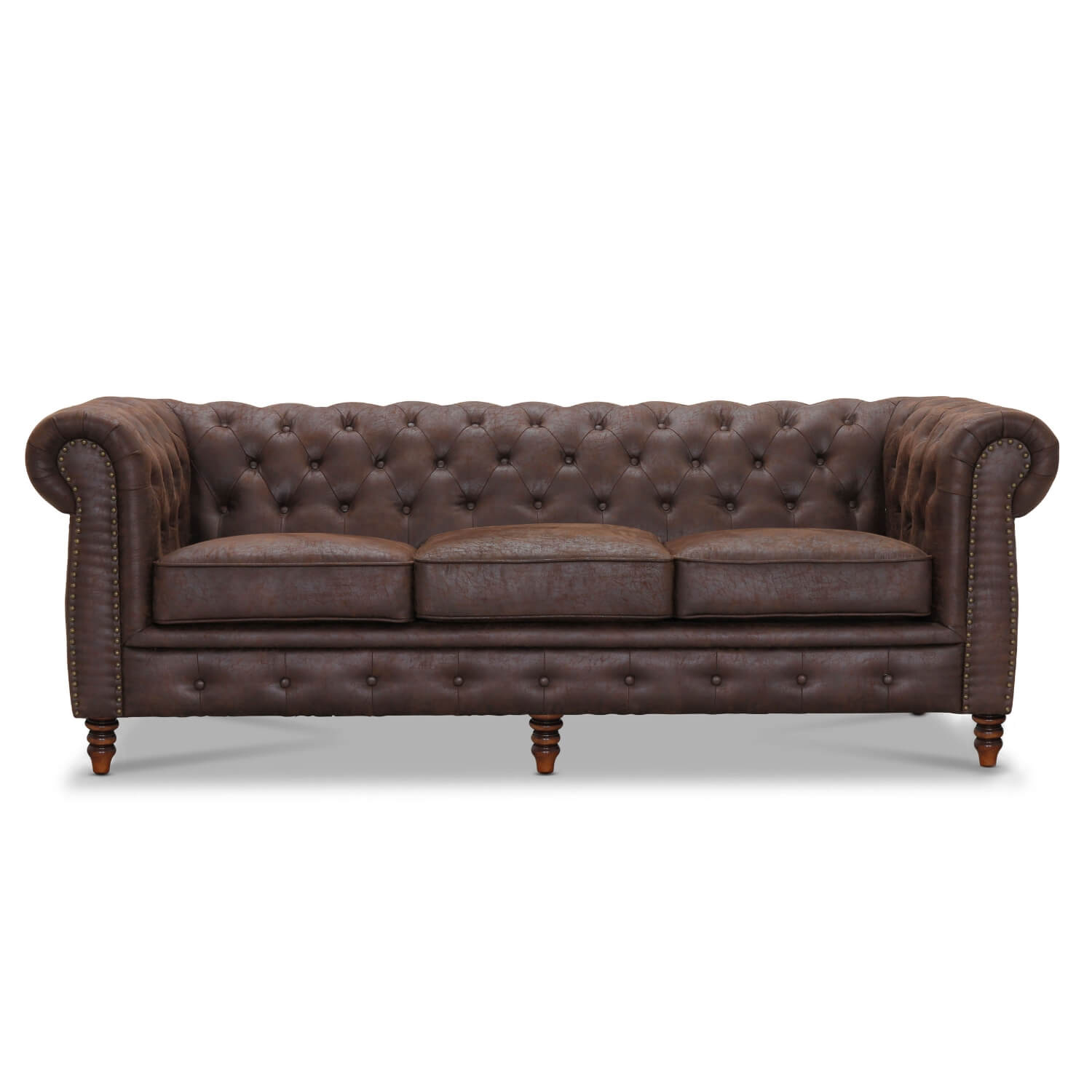 Image of   Cambridge 3 pers. sofa - chesterfield sofa brun