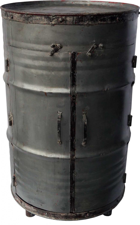 Image of   TRADEMARK LIVING kabinetskab - råt jern, m. 2 låger og 2 hylder, fremstillet af gammel tønde