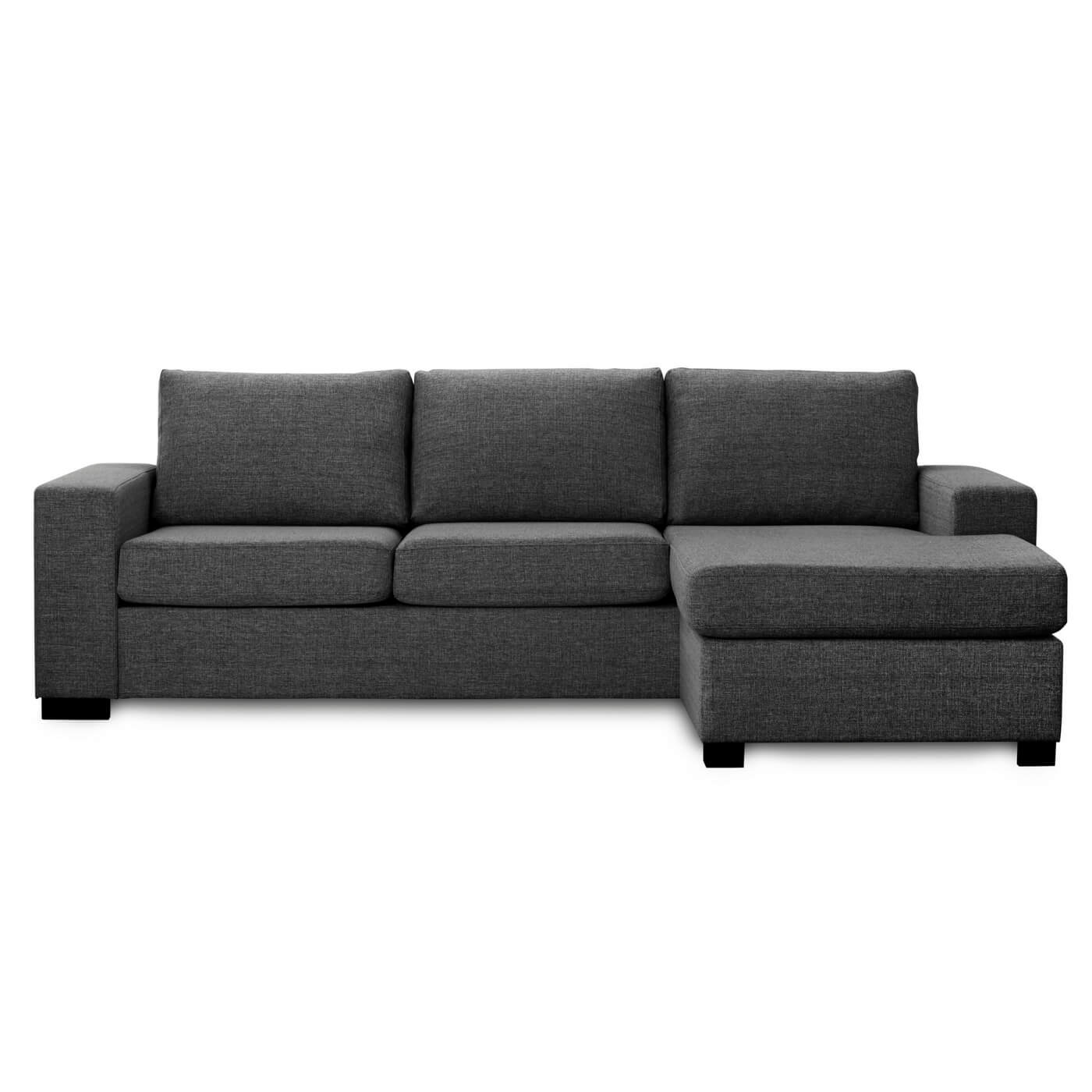 Image of   Milan 3 pers. sofa - antracitgrå stof m. chaiselong