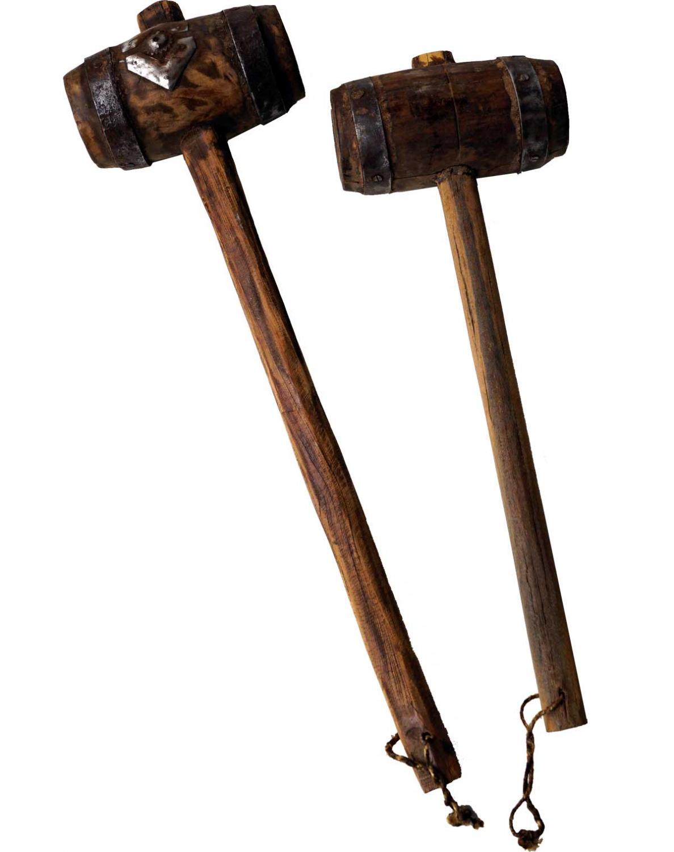 Gammel rå træhammer med smuk patina.