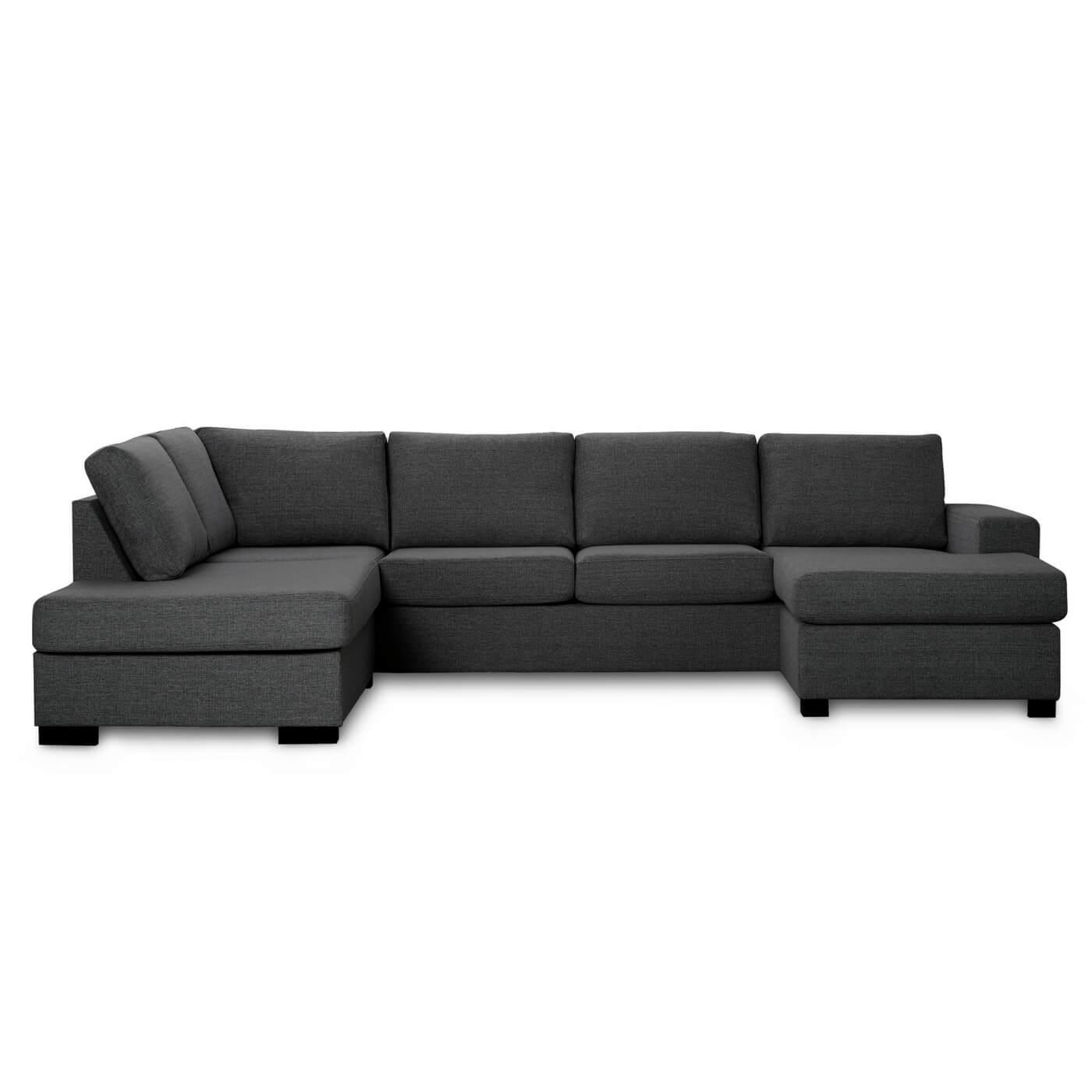 Milan venstrevendt U-sofa - antracitgrå stof