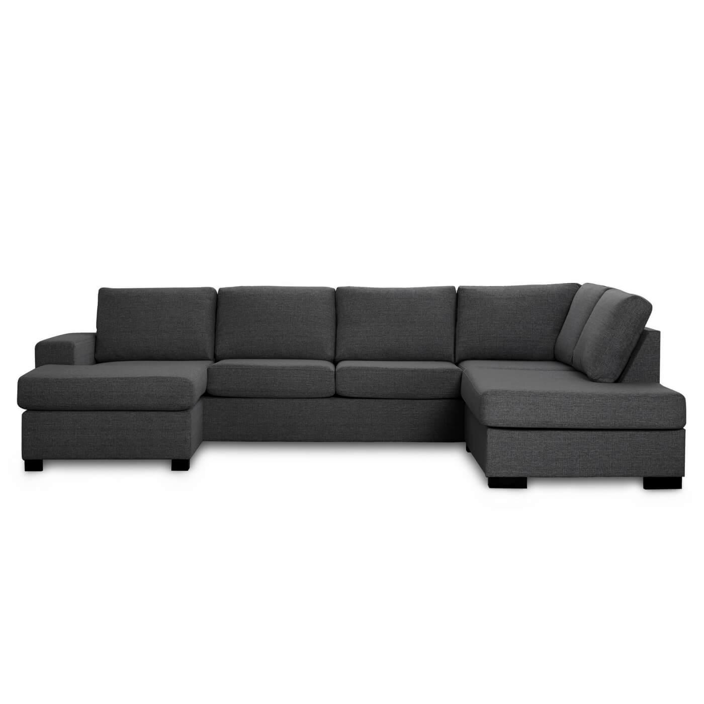 Milan højrevendt U-sofa - antracitgrå stof