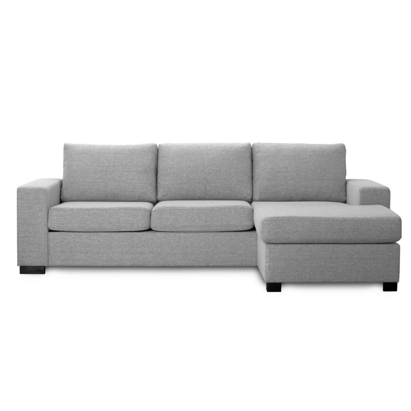 Milan 3 pers. sofa - lys granitgrå stof m. chaiselong