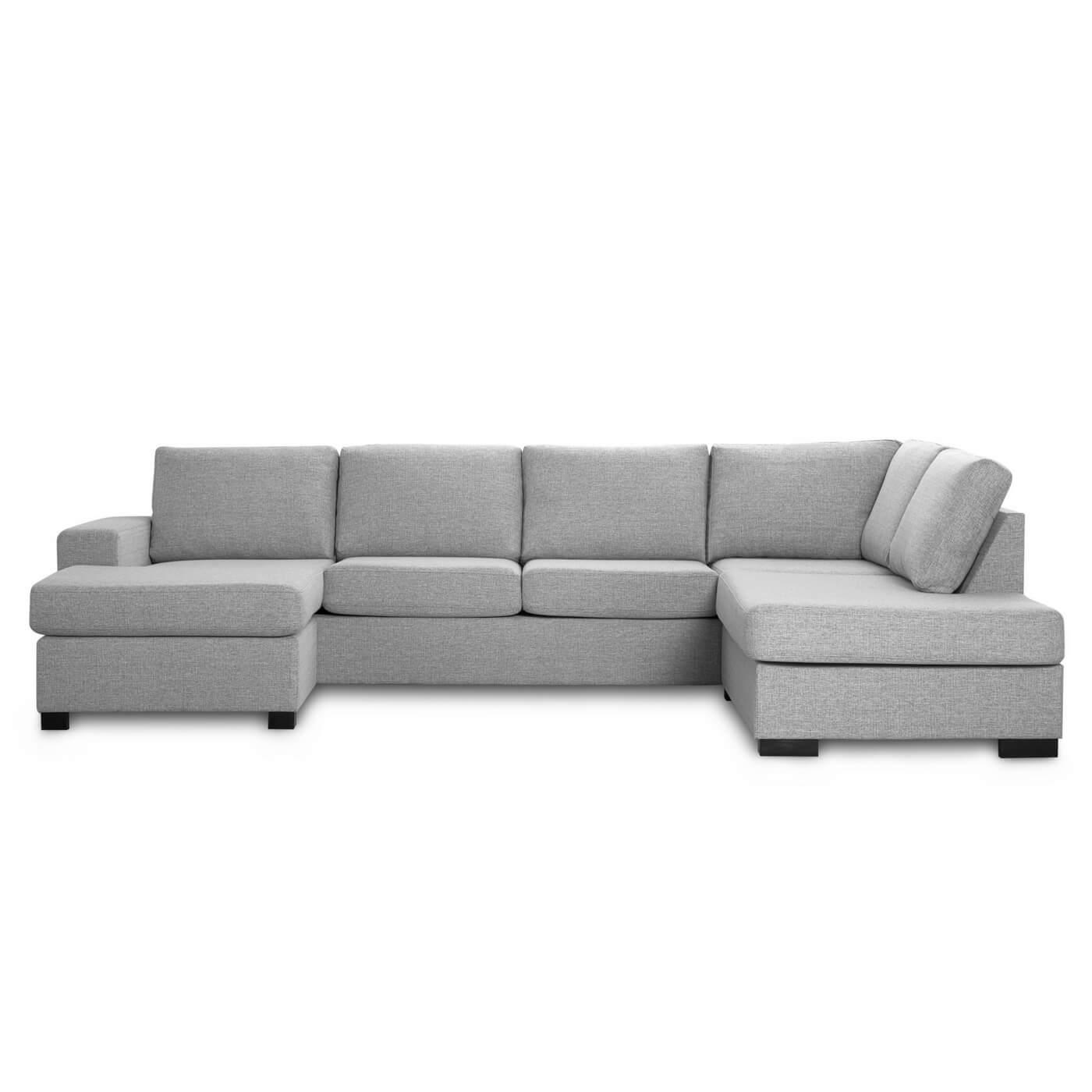 Milan højrevendt U-sofa - lys granitgrå stof