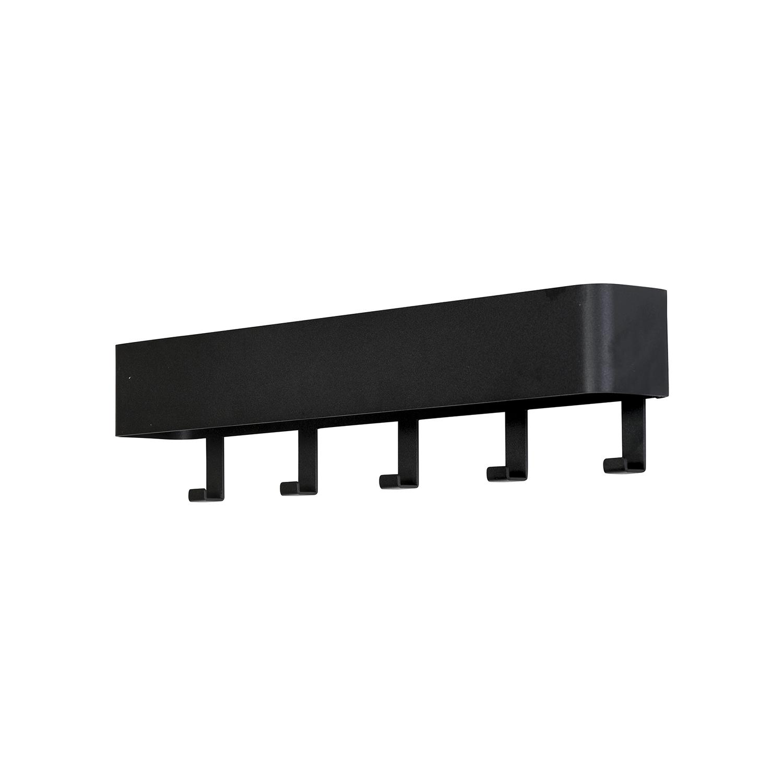 SPINDER DESIGN rektangulær Dax Play knagerække, m. 5 knager - sort stål