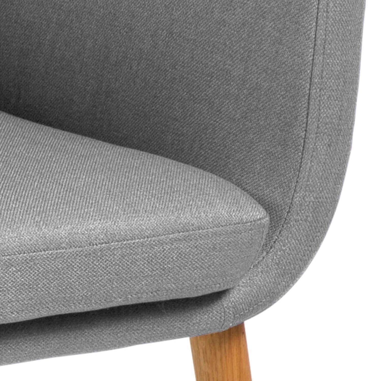 Nora armstol lysegrå stof m. egetræsben