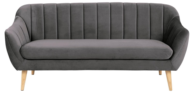 Doria 3 pers. sofa - mørkegrå/natur velour stof/gummitræ